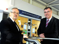 Deputy Governor of the Bank of England Charlie Bean with Dean of Teesside University Business School Alastair Thomson.. Link to View the pictures.