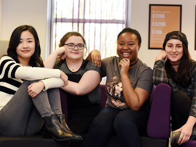 Students who worked on the BBC Radio 4 Listening Project, from left: Yaxi Zhang, Aymee King, Tamanya Thorpe-Slater, Andreea Rosu.. Link to View the pictures.