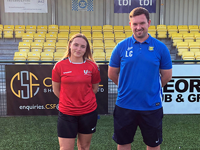 Harriet Dryden, President Activities at Teesside University Students' Union and Liam Cox, Head Coach at Stockton Town FC. Link to View the pictures.