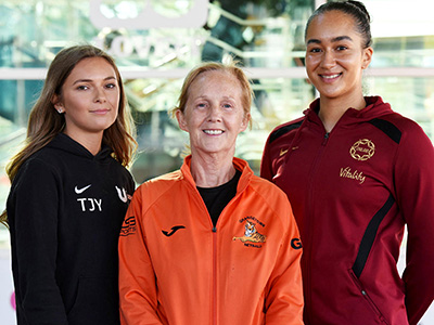 From left: Taylor Young, Teesside University netball team; Gel Williams, Grangetown Netball; Brie Grierson.. Link to View the pictures.