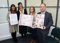 Julie Watson from Q Interiors Leanda French from Teesside University project winner Charlie Dempster and Phil Dougan from Miller Homes