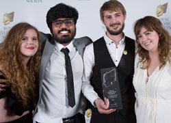 From left, Natasha Graham, Srijith Jalapathy, Adam Mann, Clare Kirkpatrick from the team behind Shed, which won two RTS awards
