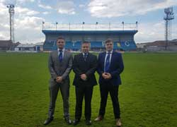 Liam Brown, Mike Edwards, Marketing Director at Whitby Town FC, and James McDonald.