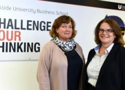 Anne Kiem (right), chief executive of the Chartered Association of Business Schools, with Dr Susan Laing, Dean of Teesside University Business School.