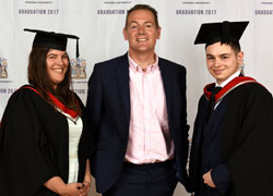 Daisy Campbell and Adam Gilmartin pictured with Andy Preston, centre, of Middlesbrough and Teesside Philanthropic Foundation