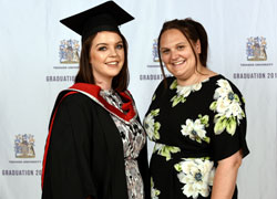 Louise Shaw pictured at her graduation ceremony with Punch Robson associate solicitor Julie Brown