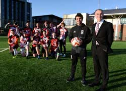 Teesside University Vice-Chancellor and Chief Executive Professor Paul Croney with Middlesbrough FC's Fabio Da Silva.