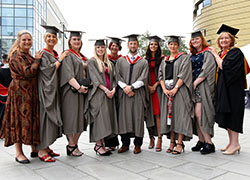 Jenny McKnight (first-left) and Linda Nelson (first-right) with some of the BMI Healthcare staff who graduated at Teesside University.