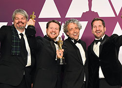 Oscar winners, from left, Ian Hunter, Tristan Myles, Paul Lambert, JD Schwalm