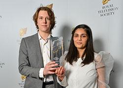 Jake Wiper and Abeera Mubarik with their RTS award