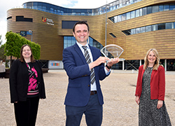 (left) Paula McMahon, ICE North East Vice Chair and Founding Chair Engineering Together, (middle) Daniel Patton (right) Nicola Hill, CIHT North East and Cumbria Chair and Engineering Together member