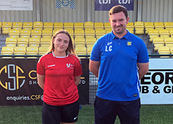 Harriet Dryden, President Activities at Teesside University Students' Union and Liam Cox, Head Coach at Stockton Town FC