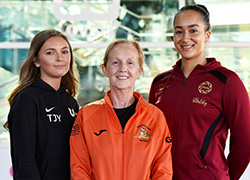 From left: Taylor Young, Teesside University netball team; Gel Williams, Grangetown Netball; Brie Grierson.