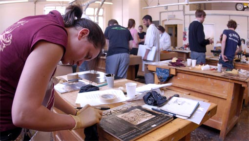 Graphic design students in Design Workshops
