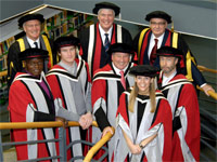 Back row: Chairman of the Governors, Sandy Anderson OBE, Chancellor Lord Sawyer, Vice-Chancellor Professor Graham Henderson. Front row: Dr John Sentamu, Archbishop of York, Rob Smedley, Formula 1 engineer, Trevor Arnold MBE, former Managing Director K Home International, Adele Parks, novelist, Paul Rodgers, singer-songwriter.