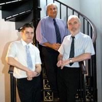 Pictured left to right, Martin McKie, Professor Farhad Nabhani and Alex Ramsay, at Stockton Castings.