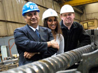 Prof Farhad Nabhani, with Sara Zarei  and David Ford, Production Manager at Stanley Vickers Ltd.