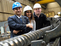 Teesside graduate Sara Zarei, centre, with Professor Farhad Nabhani, left, and David Ford, Production Manager at Stanley Vickers Ltd.