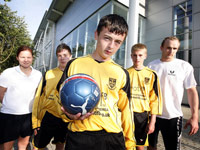 Teesside Sport Science student Vicky Evans, footballers Scott Hill, Jack Cubbin, Craig Risebury and Teesside Sport Science student Shane Hassell.