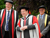 Vice-Chancellor Professor Graham Henderson CBE, Keith Skeoch and Sandy Anderson, Chairman of the Board of Governors.