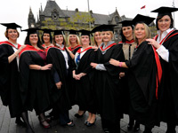 Pictured from left, Jane Craig and Jill Huddlestone with other graduates from the BA (Hons) Business Management top up