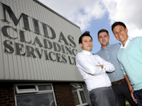 Midas Cladding, Martin Gilbey (right) with Teesside University graduates Scott Ayre (left) and John Skidmore(centre)