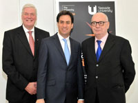 From left -Ed Miliband (centre) with Teesside University Chancellor Lord Sawyer of Darlington (right) and Vice-Chancellor Graham Henderson CBE DL (left).