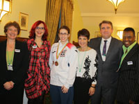 From left, Dr Judith Hebron, Carrie Grant, charity patron Jo Redman, Anna Kennedy, Austin Hughes, David Grant