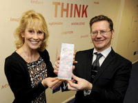 Eileen Wicks being presented with her award by UKBI membership manager Kieron Broadbent.