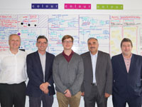 Left to right - Stephen Blacklock – Technical Director, Colour; Peter Owens – Managing Director, Colour; Henry Fenby-Taylor – KTP Associate; Professor Nashwan Dawood, Teesside University; John Clayton,  KTP Advisor, North East England and North Yorkshire.