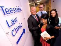 Law lecturer Andrew Perriman, left, with students Harri Singh and Helen Peebles and Mark Simpson, Dean of the University's School of Social Sciences, Business & Law.. Link to View the pictures.