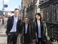 Freebrough Academy pupils Alex Blaydem, Sophie Ward and Alex Ayre during their trip to London