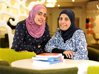 Shaima Albalooshi and Najat Bushalaibi in the University Library. Link to View the pictures.