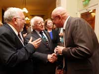 Professor Steve Hall (right) meets Irish President Michael D Higgins.