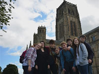 Students pictured during their survey project in Durham