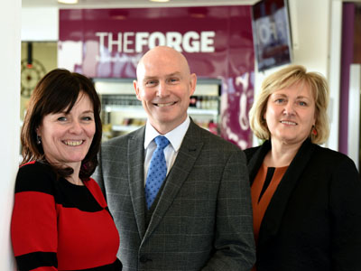 From left – Lisa McKeown, The Forge Customer Services Manager; Michael Wildey, Customer First Practitioner and Karen Race, Deputy Director of The Forge.. Link to From left – Lisa McKeown, The Forge Customer Services Manager; Michael Wildey, Customer First Practitioner and Karen Race, Deputy Director of The Forge..