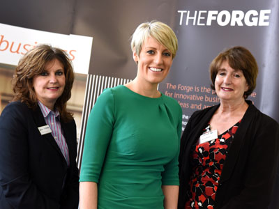 From left - Pro Vice-Chancellor (Enterprise and Business Engagement) Professor Jane Turner, Steph McGovern and Director of The Forge, Laura Woods.. Link to From left - Pro Vice-Chancellor (Enterprise and Business Engagement) Professor Jane Turner, Steph McGovern and Director of The Forge, Laura Woods..