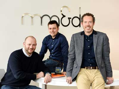 mm&d management team (left to right): Digital Director Mark Skirving, Business Development Manager Owain Jenkins, and Design Director Gavin Hatton.. Link to Award winning marketing agency returns to Stockton.