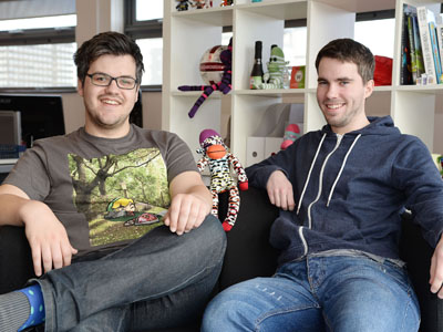 Bob Makin (left) and Darren Cuthbert (right), founders of SockMonkey.. Link to SockaMonkeys shooting for success.