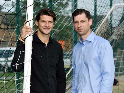 George Friend with Senior Lecturer in Sport & Exercise Dr Kevin Dixon.. Link to New degree course backed by Boro fan favourite.