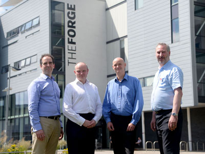 From left - Steve Parker, Director of Engineering at Meggitt; Bill Shepherd, Managing Director of Photon Fire; Professor Simon Hodgson, Pro Vice-Chancellor (Research & Innovation) and Paul Talbot, NATEP Technology Manager.. Link to University research partnership is helping an SME take off.