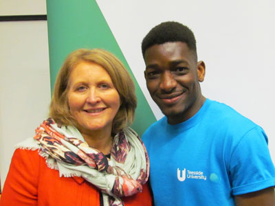 Yacouba Traore with Children's Commissioner Anne Longfield OBE . Link to Student who came to UK as asylum seeker wins national award.