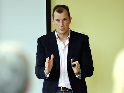 Will Butler-Adams addressing members of the Business Exchange at Teesside University's Darlington campus.. Link to 'Have fun and export', business leaders told.