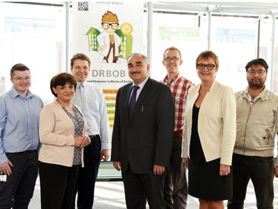 The DR-BoB project team. From left - Ethan Lumb, Huda Dawood, Vladimir Vukovic, Nash Dawood, John Broderick , Tracey Crosbie and Muneeb Dawood.. Link to University research could herald new energy management solutions.