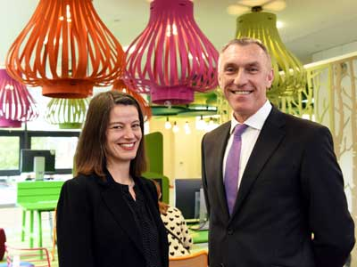 Professor Paul Croney, Vice-Chancellor and Chief Executive of Teesside University and Liz Jolly, Director of Library and Information Services.. Link to Staff and students celebrate landmark library development.