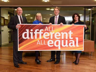 Teesside University Diversity Champions, left to right, Malcolm Page, Chief Operating Officer, Juliet Amos, Executive Director (Human Resources), Michael Lavery, Executive Director (External Relations) and Professor Jane Turner, Pro Vice-Chancellor (Enterprise and Business Engagement). . Link to Stonewall recognition for Teesside University.
