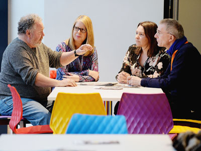 From left Associate Researcher Malcolm Plant, Senior Lecturer in Counselling Psychology Lesley Pilkington, Redcar MP Anna Turley, Professor of Psychology Paul van Schaik. Link to View the pictures.