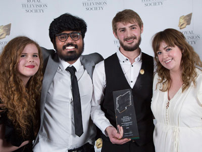 From left, Natasha Graham, Srijith Jalapathy, Adam Mann, Clare Kirkpatrick from the team behind Shed, which won two RTS awards. Link to Triple triumph for Teesside at Royal Television Society awards.