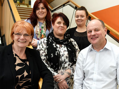 From left, Marion Grieves, Dean of the School of Health & Social Care, (back) social worker Beth Burnside, (front) social work student Jayne Walker, (back) care leaver Hollie Lowery, (front) social work lecturer Mike Wren . Link to From left, Marion Grieves, Dean of the School of Health & Social Care, (back) social worker Beth Burnside, (front) social work student Jayne Walker, (back) care leaver Hollie Lowery, (front) social work lecturer Mike Wren .