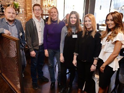 The panel at the Women in Digital event. From left - James Lees, Dominic Lusardi, Kate Baucherel, Joanna Wake and Anna Smith with DigitalCity student director Natalie Woods (far right).. Link to View the pictures.